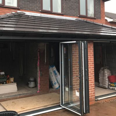 An extension with two bi-folding doors installed by our team