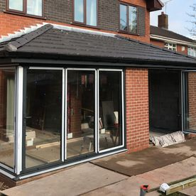 A extension with two bi-folding doors built by our team