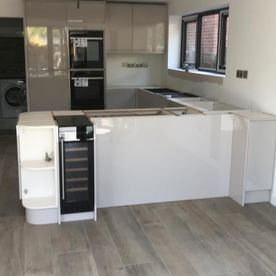 A kitchen that is in the progress of being fitted by our team