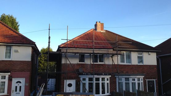 Re-roofing work that is being carried out for a customer